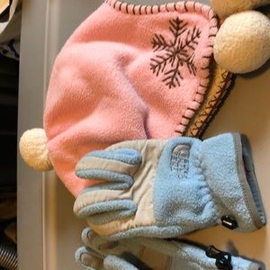 Baby gap hat and north face gloves